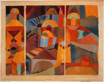ORIGINAL SEMI rigid AESTHETIC WASHABLE and durable PLACEMAT - Paul Klee - up Temple garden.