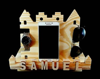 Unique Gift,Wooden Castle,Pine Wooden Phone Stand,Wood Dock Station,Phone Charging Dock,Iphone Dock,Docking Station,Cell Phone Stand