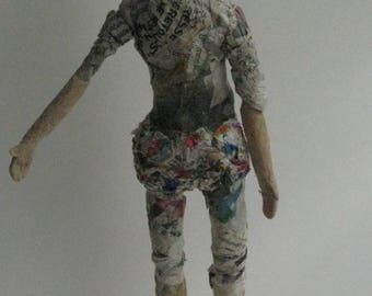 someday I'll see the sea. sculpture of paper mache doll