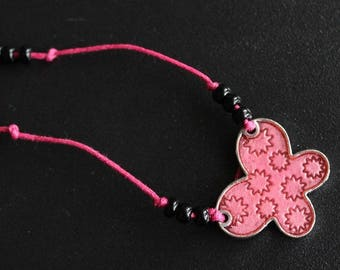 Pink with pink butterfly pendant necklace link