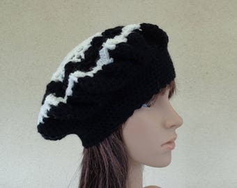 Black and white hand made BERET or hat