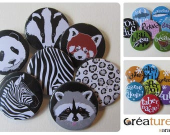 Set of 7 badges 38mm to choose from in the shop