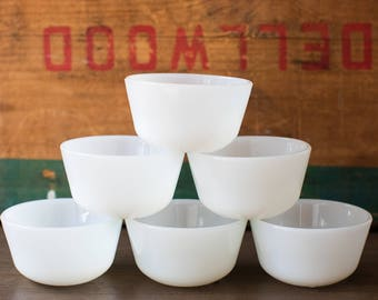 Set of 6 White Milk Glass Ramekins / Custard Cups