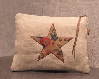 star pattern linen pouch
