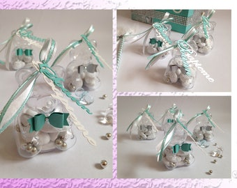 Bags of sweets transparent baptism - Teddy bear and bow tie