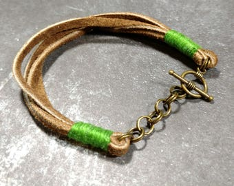 Brown Suede/Green Cotton Toggle Bracelet