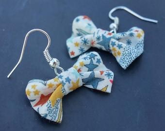 Star fabric bow earrings