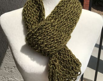 Handmade Knitted Scarf with loop - Item #2010