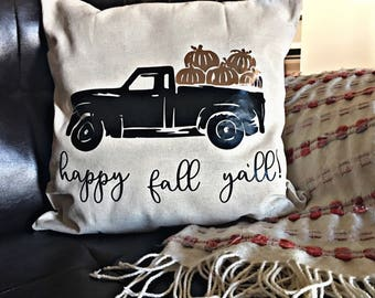 Happy fall truck pillow