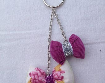 DOOR keys jewelry bag with 2 bows and chains, purple-pink-green