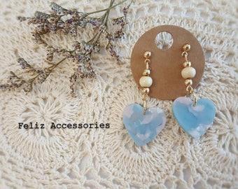Blue heart shaped earrings