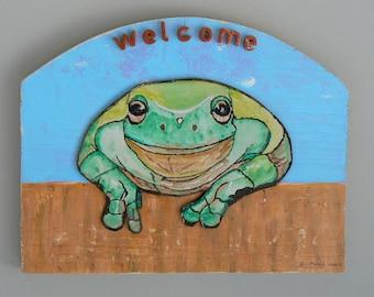 Painting acrylic on wood: welcome frog