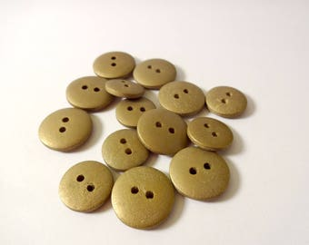 14 buttons in gilt wood - antique gold - Scrapbook - embellishment - sewing