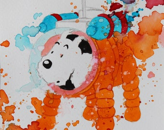 Original drawing of snowy Cosmonaut in Tintin destination Moon by Herge