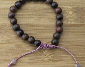 Tiger Ebony Wood Yoga Beads Bracelet with Peach Moonstone | 8mm | Yoga Jewelry | Meditation Bracelet | Buddhist Bracelet | Free Shipping
