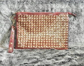 Charlotte Russe Maroon Gold Studded Faux Leather Purse // Clutch // Bag