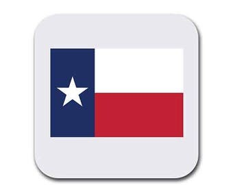 Texas Flag Coaster Set of Six - Table Gift Coasters for Drinks - Absorbent | Furniture Safe - Gifts Home - Quality Neoprene
