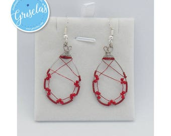 005 - Earrings Red and Silver Wires with Red Beads