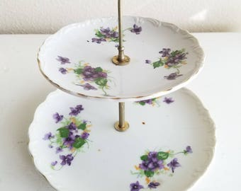 Two Tiered Shabby Chic Plate stand