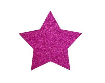 5 X 4.8 cm pink glittery star fusible pattern