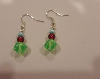 Green dice with blue and red beaded earrings