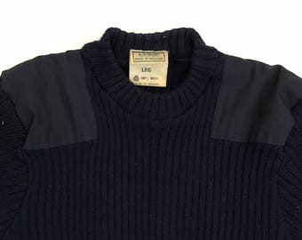 Vintage 80s LL Bean Hunting Shooting Sweater Wool Elbow Patch - Made in England  - Large