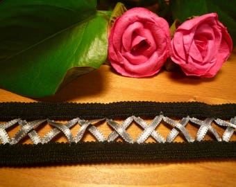 Black Lace with satin grey laced Ribbon