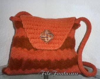 Handbag, felt bag, bag, felted bag, knitted bag in rust and dark red, knitted felts, shoulder bag