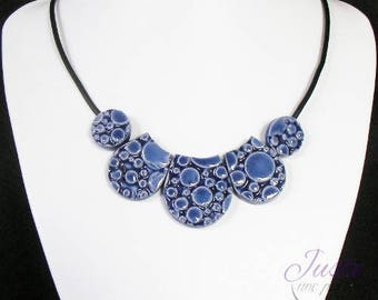 Clay necklace bubbles embossed pattern