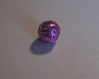 SET OF 12 BEADS FILIGRANEES 1.75 CM COLOR PINK