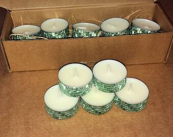 Set of 5 decorative Tealights (green)