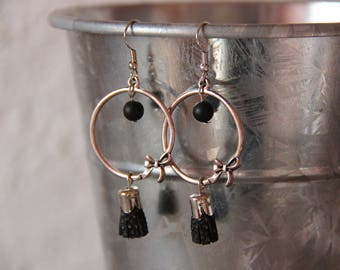 Earrings • DELIA • silver / black