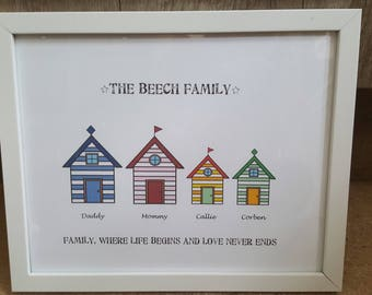 Personalised family tree Beach hut frame perfect gift for any occasion