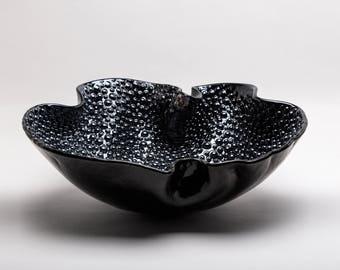 Home decor - Murano glass black bubbles decorative plate - Italian Art Glass