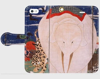 """Wallet Phone case """"Ito Jakuchu :Birds, Animals and Flowering Plants (Right Side Elephant)"""""""