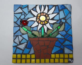 flower pot mosaic tile