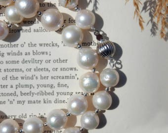 12mm White Pearl Necklace, Pearl Necklace, Beaded Necklace, Handmade