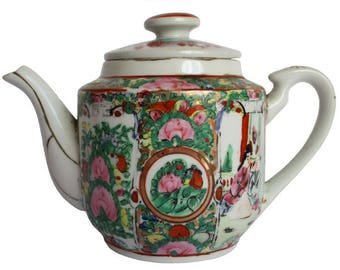 Family Rose,/rijk decorated/floral decor/Gold finish/image/pink/green teapot with 4 red characters marked.