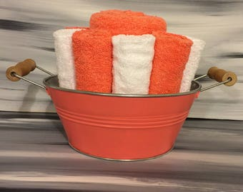 Coral Beach Bathroom Towel Bin - Towel/Wash Cloth Holder/Wooden Handles - 2 orange hand towels -5 orange and 5 white wash cloths.