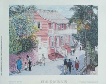 Balcony House - Bahamian art print of original oil painting by Eddie Minnis