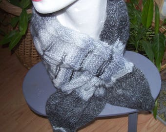 Cowl scarf - gray and black gradient.
