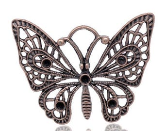 Copper Butterfly charm pendant 48x36mm