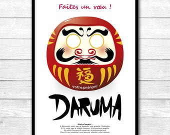 DARUMA, personalized poster, make a wish!