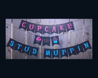 Cupcake or Stud Muffin Banner | Cupcake or Stud Muffin | Gender Reveal | Baby Shower