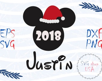 New Year Mickey Mouse Head with Your Name Svg Dxf Png Eps cut files for Cutting Machines Cameo or Cricut