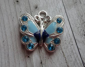 21.5x21 mm blue enamel silver Butterfly charm