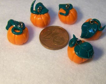 polymer clay hand made pumpkin charm