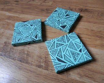 Teal Triangle Canvas