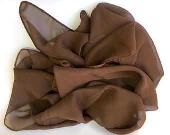 Scarf polyester hem machine Brown 160 x 50 cm ready to customize (M43)