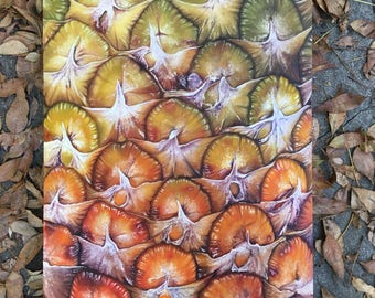Original pineapple fruit oil painting